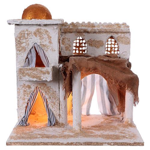Casa araba con colonne torre cupola luci 35x35x25 cm presepe Napoli 1