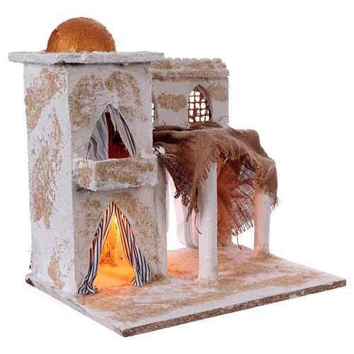Casa araba con colonne torre cupola luci 35x35x25 cm presepe Napoli 3