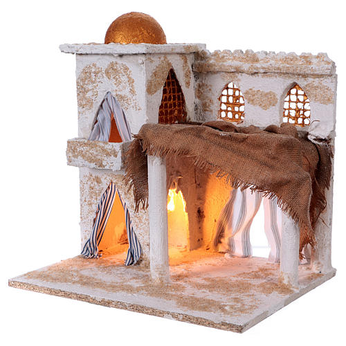 Arabian style house with domes and pillars for Nativity scene 36x35x27 cm 2