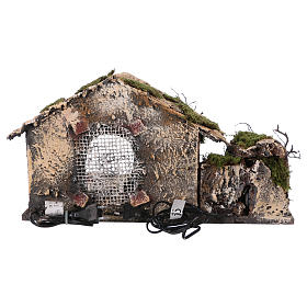 Shack with fountain and lights for Neapolitan Nativity scene 25x45x30 cm s4