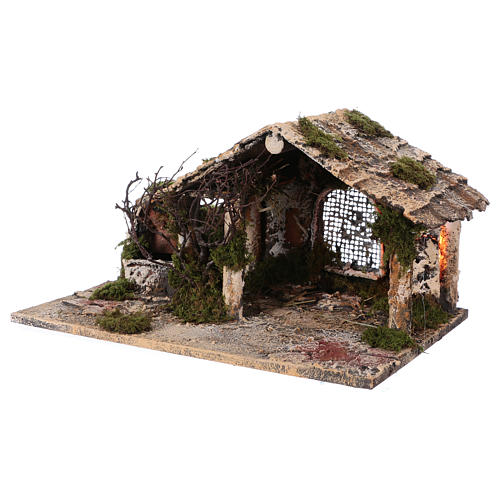 Shack with fountain and lights for Neapolitan Nativity scene 25x45x30 cm 2