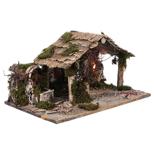 Shack with fountain and lights for Neapolitan Nativity scene 25x45x30 cm 3