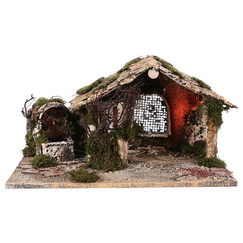 Illuminated stable with fountain for Neapolitan Nativity scene 25x45x30 cm 1
