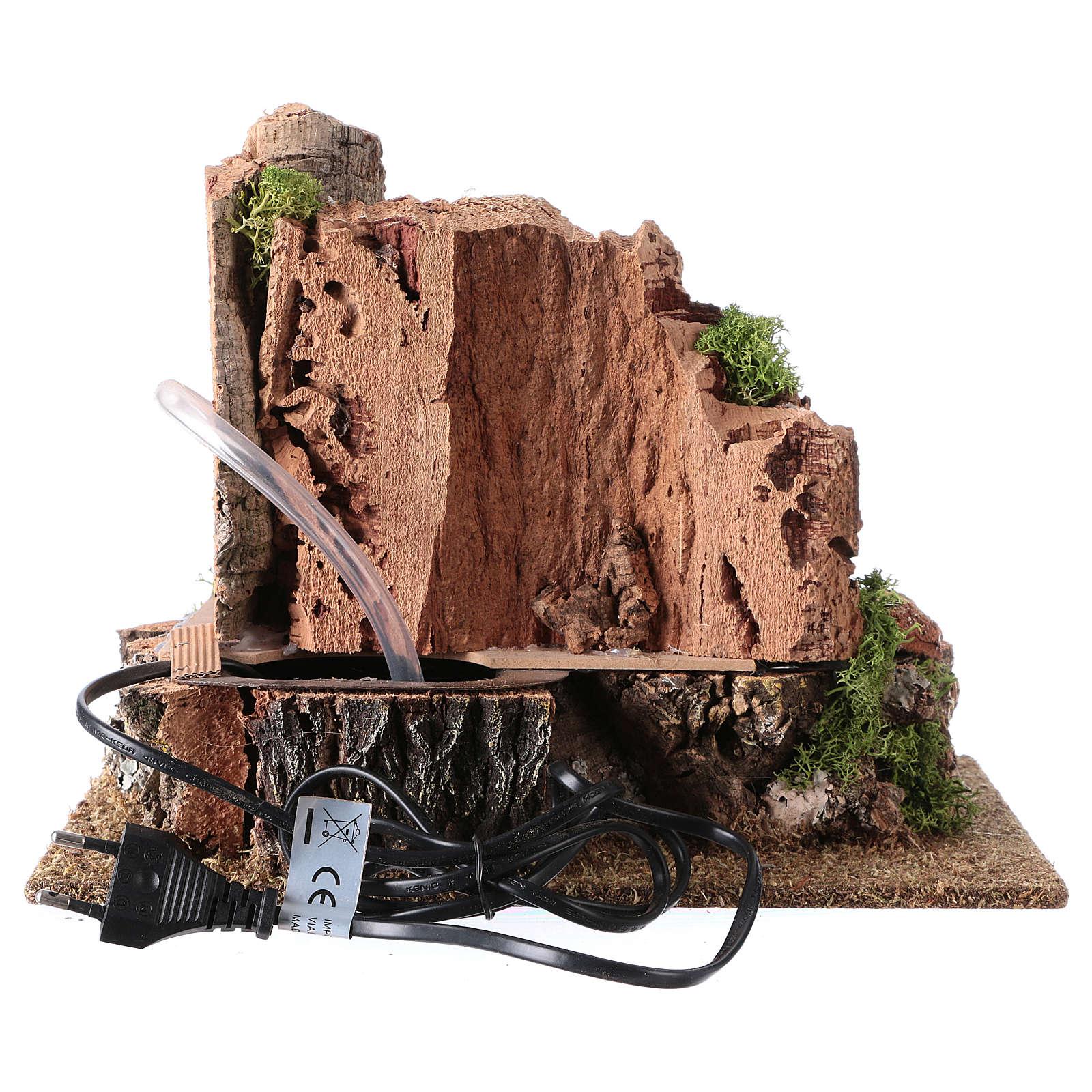 Mulino ad acqua nella roccia 3w per presepe 25x30x20 cm 4