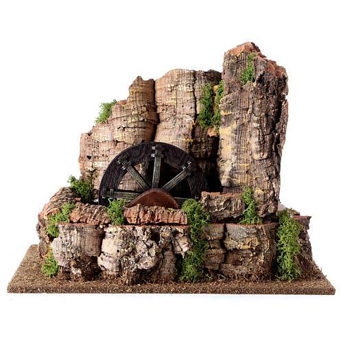 Mulino ad acqua nella roccia 3w per presepe 25x30x20 cm 1