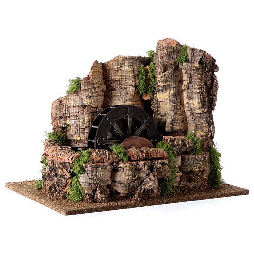 Mulino ad acqua nella roccia 3w per presepe 25x30x20 cm 2
