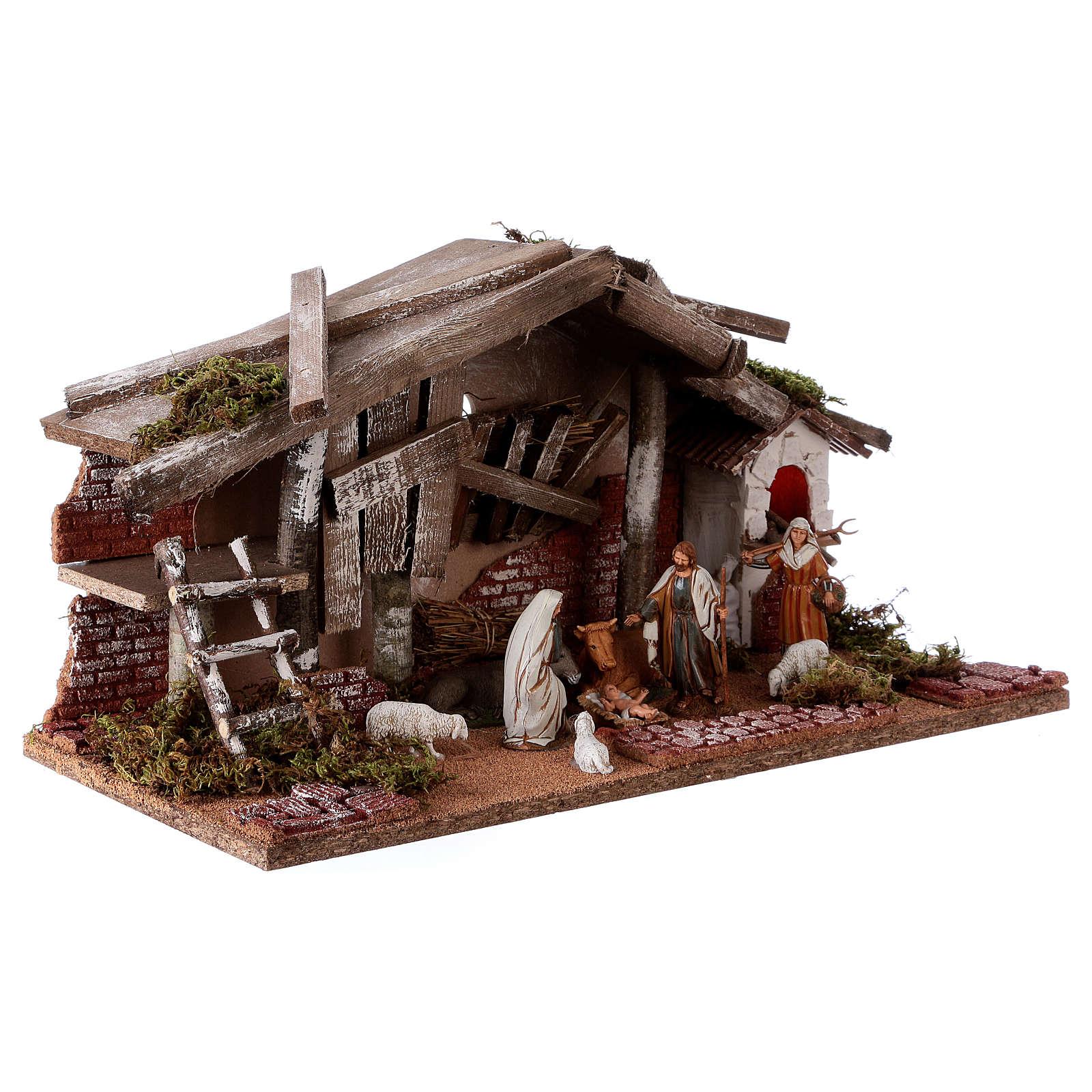 Barn with 10 cm Nativity scene and shepherd 25x50x25 cm 4