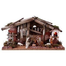 Barn with 10 cm Nativity scene and shepherd 25x50x25 cm s1