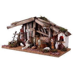 Barn with 10 cm Nativity scene and shepherd 25x50x25 cm s2