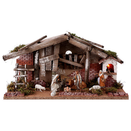 Barn with 10 cm Nativity scene and shepherd 25x50x25 cm 1