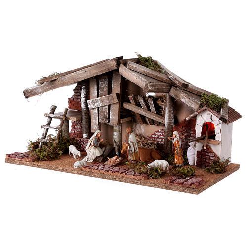 Barn with 10 cm Nativity scene and shepherd 25x50x25 cm 2