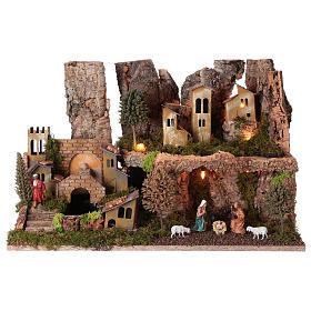 Ambientações para Presépio: lojas, casas, poços: Aldeia presépio natividade fontanário gruta luzes 25x55x40 cm