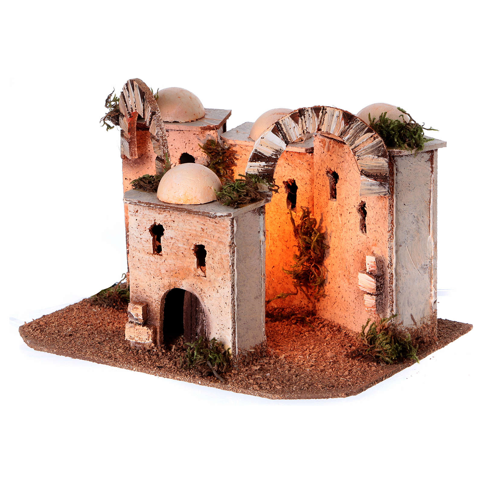 Maisons arabes en liège 20x25x10 cm avec luminaires alimentation électrique 4