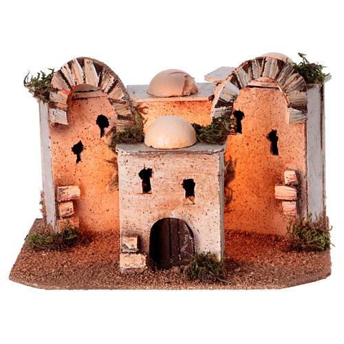 Maisons arabes en liège 20x25x10 cm avec luminaires alimentation électrique 1