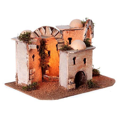 Maisons arabes en liège 20x25x10 cm avec luminaires alimentation électrique 3