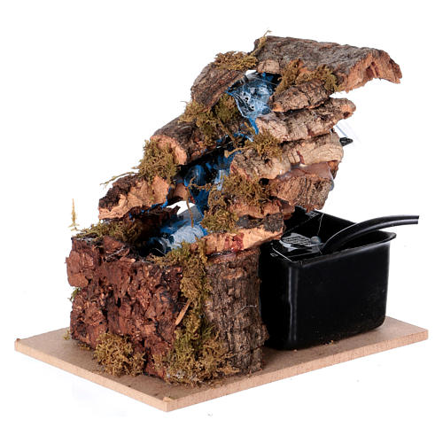 Waterfall with three steps for Nativity scene, Neapolitan style 10x10x5 cm 2