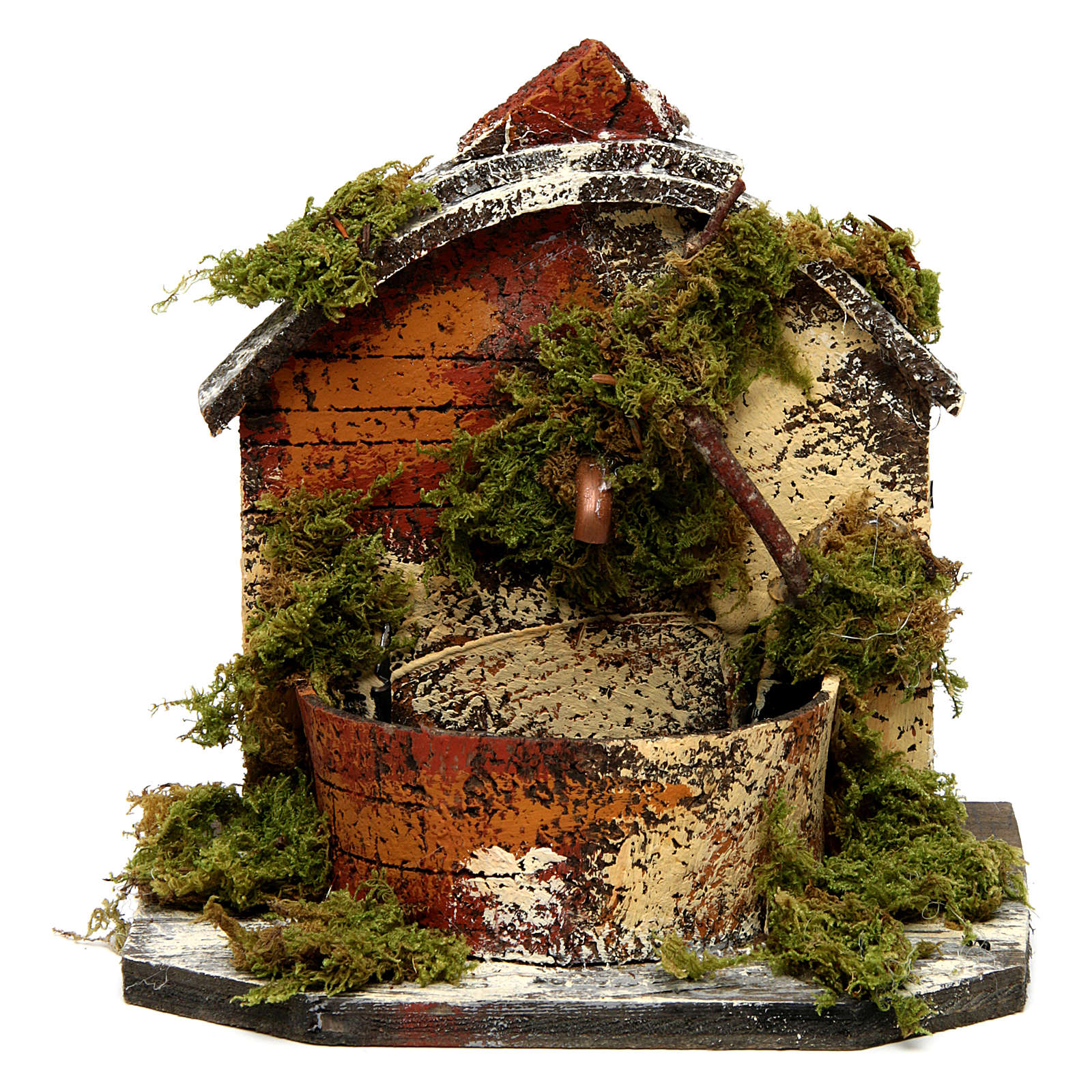 Brick Fountain with Moss and Pump 15x10x10 cm 4