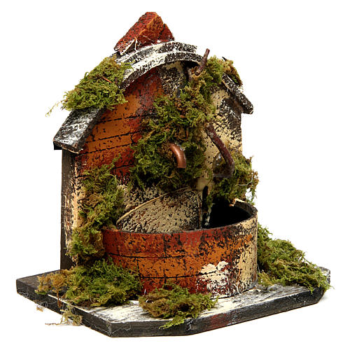 Brick Fountain with Moss and Pump 15x10x10 cm 3