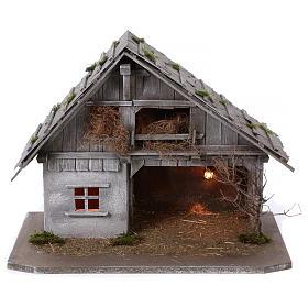 Étable modèle Pirk en bois avec lumière pour crèche 10-13 cm s1