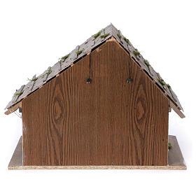 Étable modèle Pirk en bois avec lumière pour crèche 10-13 cm s5