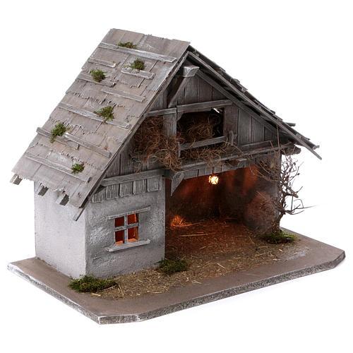 Étable modèle Pirk en bois avec lumière pour crèche 10-13 cm 4