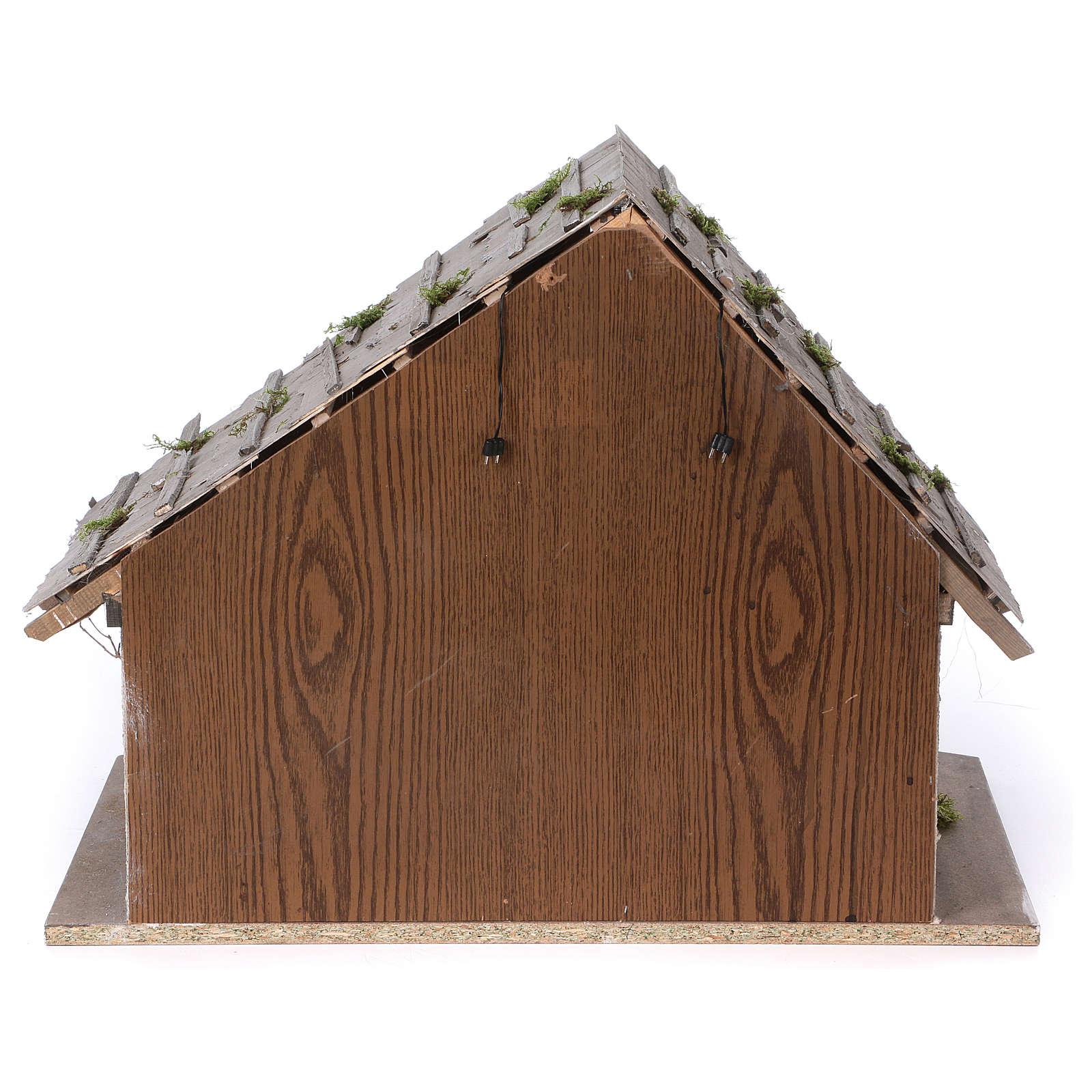 Stalla modello Pirk in legno con luce per presepe 10-13 cm 4