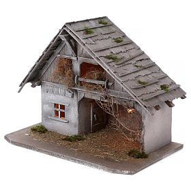 Stalla modello Pirk in legno con luce per presepe 10-13 cm s3