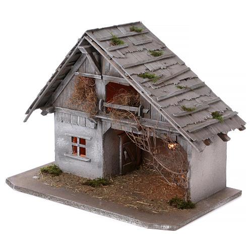 Stalla modello Pirk in legno con luce per presepe 10-13 cm 3