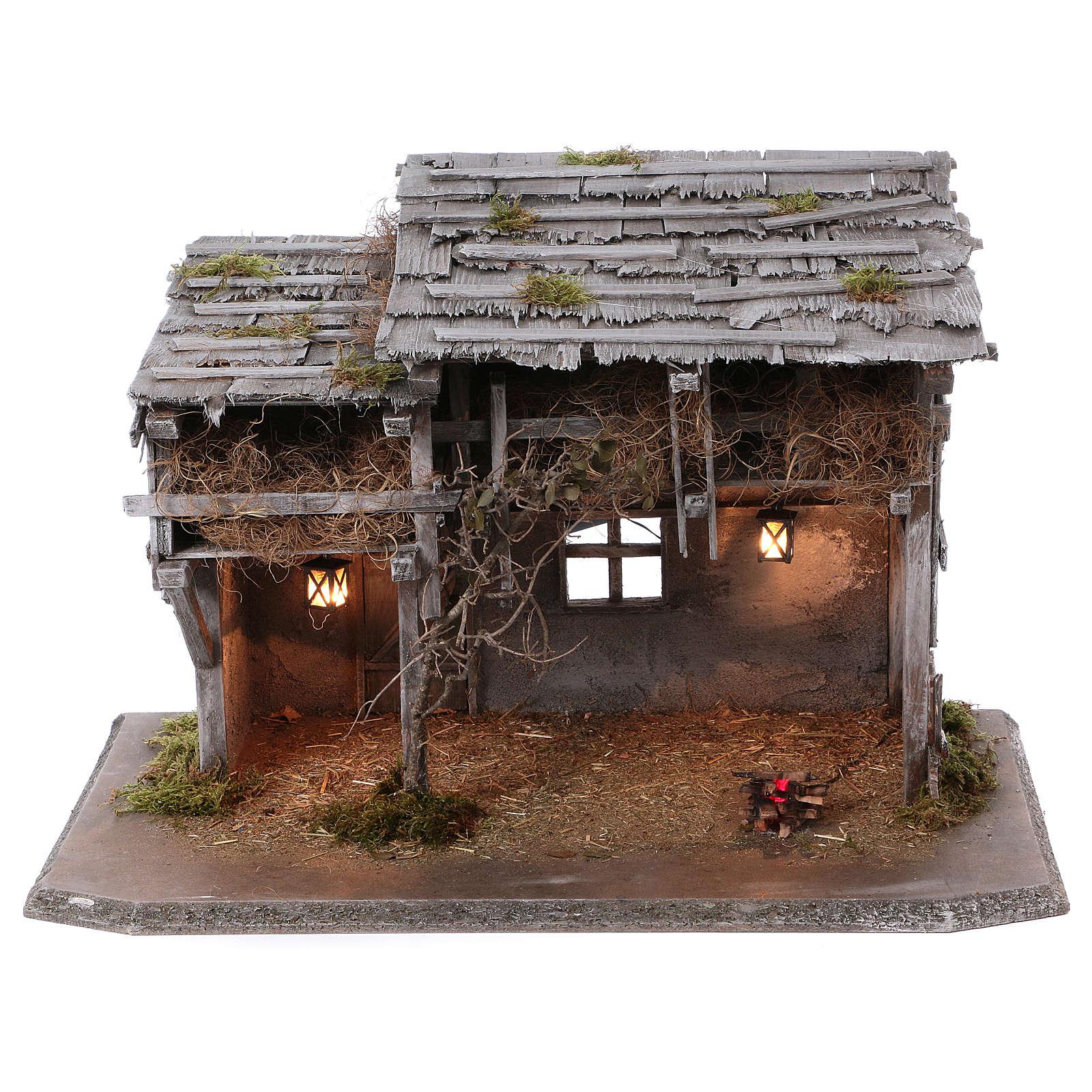 Étable modèle Luhe en bois lumières et feu pour crèche 14-15 cm 4