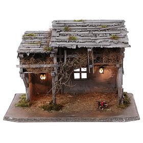 Étable modèle Luhe en bois lumières et feu pour crèche 14-15 cm s1