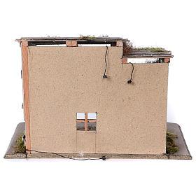 Étable modèle Luhe en bois lumières et feu pour crèche 14-15 cm s4