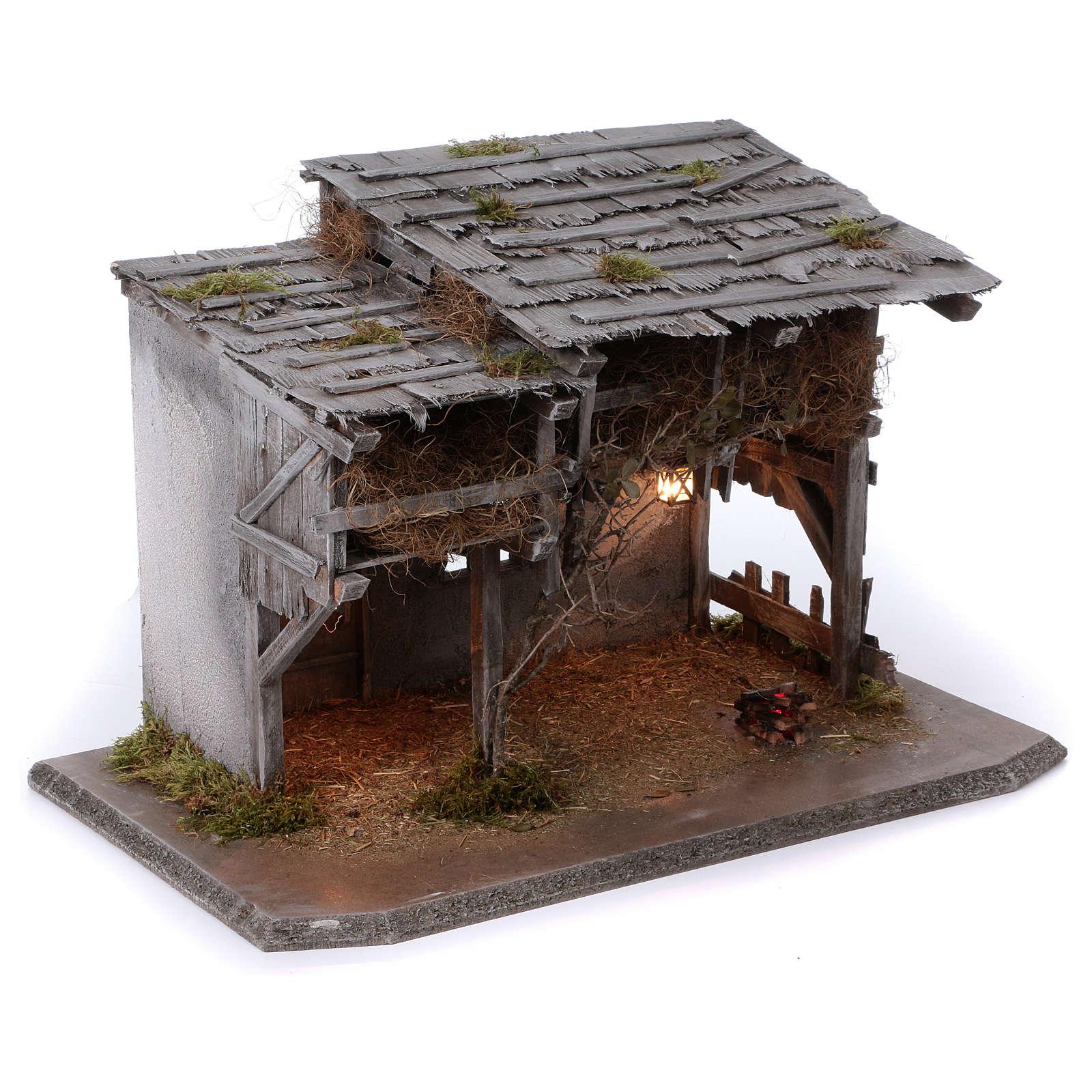 Stalla modello Luhe in legno luci e fuoco per presepe 14-15 cm 4
