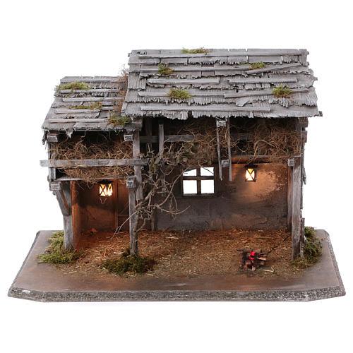 Stalla modello Luhe in legno luci e fuoco per presepe 14-15 cm 1