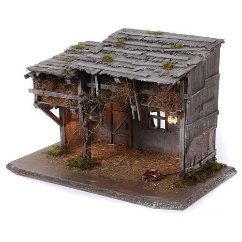 Stalla modello Luhe in legno luci e fuoco per presepe 14-15 cm 2