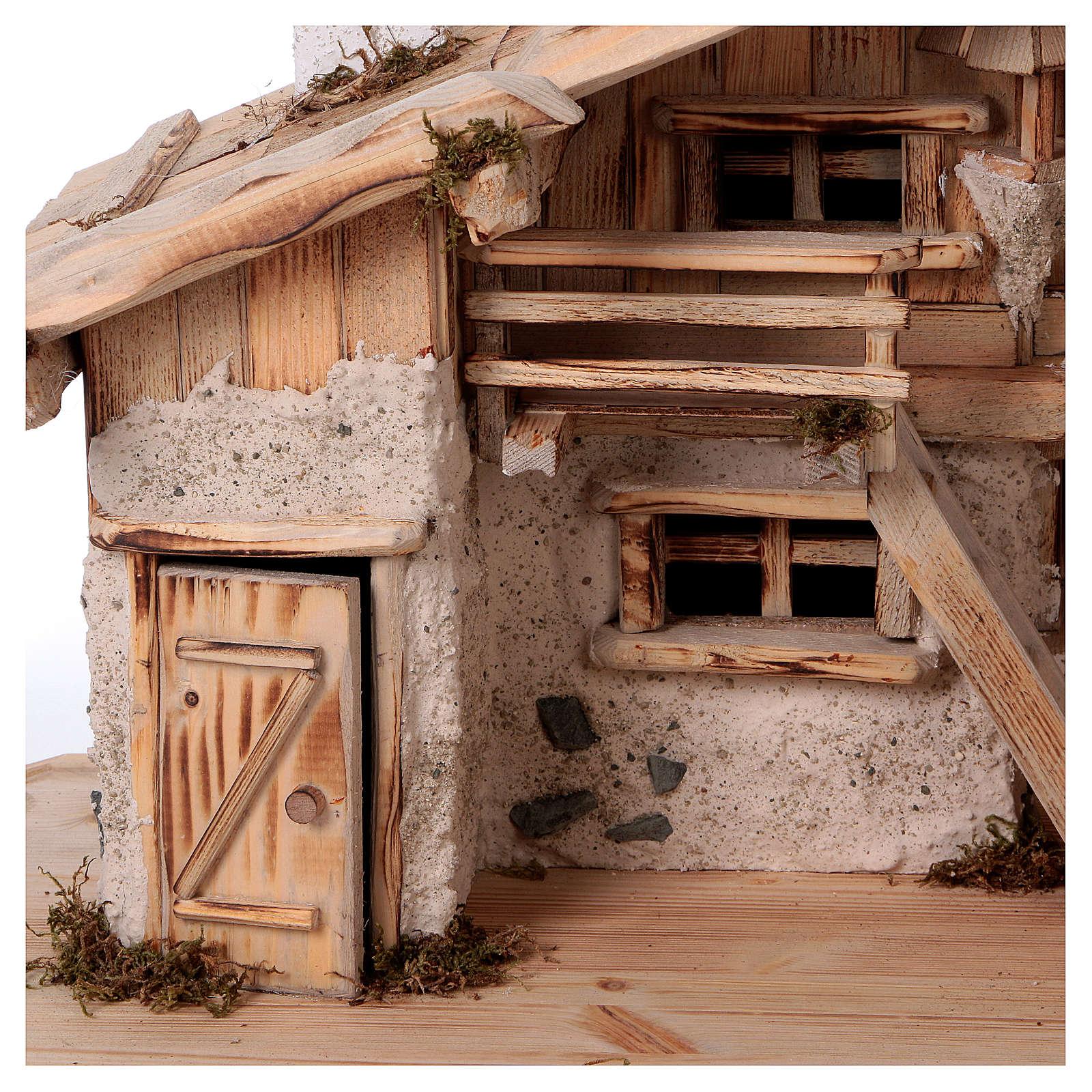 Stalla modello Titisee in legno per presepe 12-16 cm 4