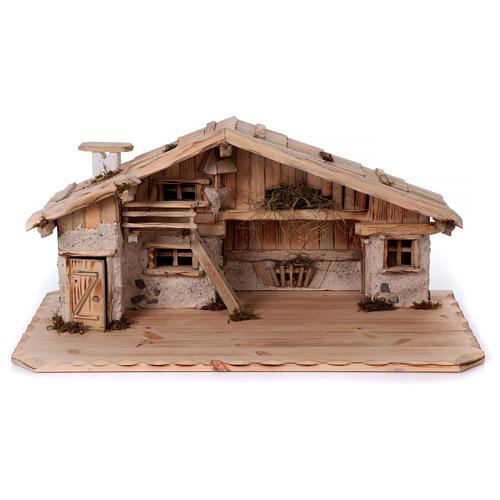 Stalla modello Titisee in legno per presepe 12-16 cm 1