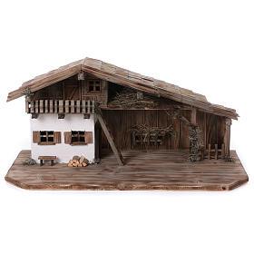 Stalla modello Bogen in legno per presepe 11-15 cm s1