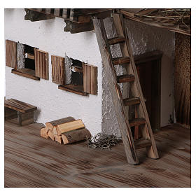 Stalla modello Bogen in legno per presepe 11-15 cm s2