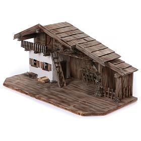 Stalla modello Bogen in legno per presepe 11-15 cm s3
