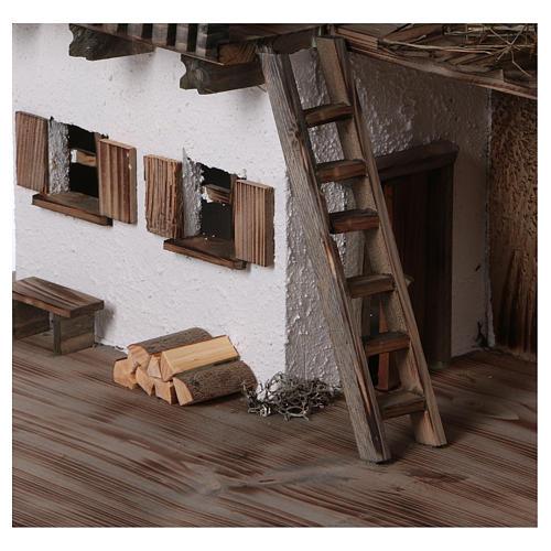 Stalla modello Bogen in legno per presepe 11-15 cm 2