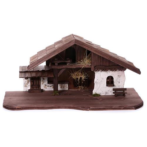 Étable modèle Osser en bois pour santons 11-13 cm 1