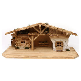 Étable modèle Flos en bois pour crèche avec santons 10-12 cm s1