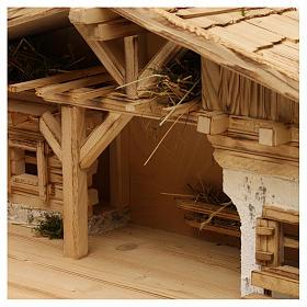 Étable modèle Flos en bois pour crèche avec santons 10-12 cm s3