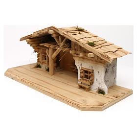 Étable modèle Flos en bois pour crèche avec santons 10-12 cm s4