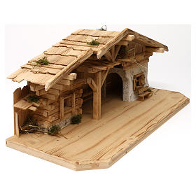 Étable modèle Flos en bois pour crèche avec santons 10-12 cm s5
