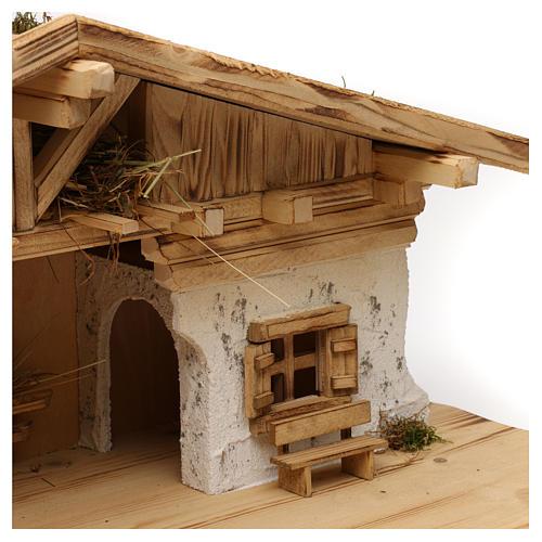 Étable modèle Flos en bois pour crèche avec santons 10-12 cm 2