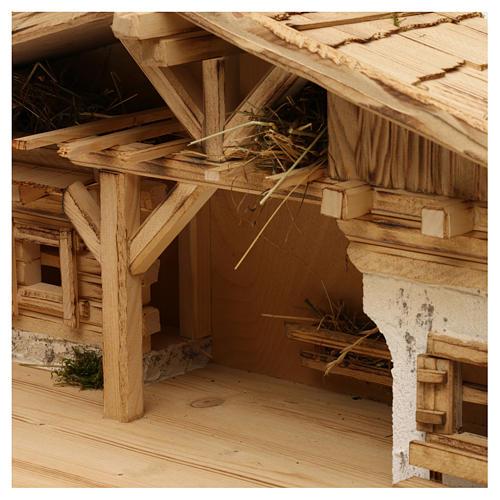 Étable modèle Flos en bois pour crèche avec santons 10-12 cm 3