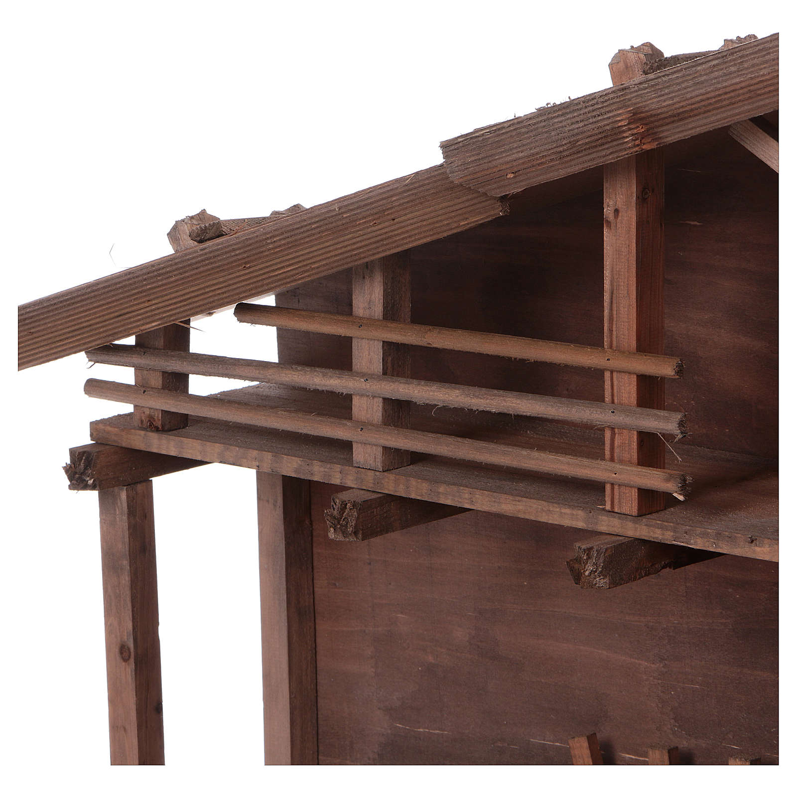 STOCK Brown nativity stable, in wood for 40-50 cm nativity 4