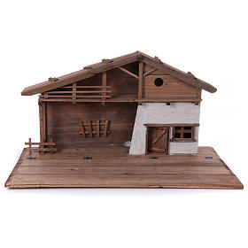 STOCK Brown nativity stable, in wood for 40-50 cm nativity s1