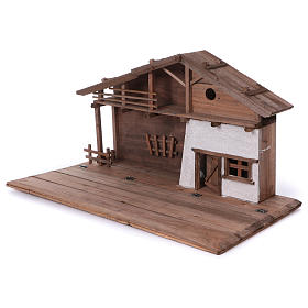 STOCK Brown nativity stable, in wood for 40-50 cm nativity s3